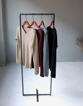 V-neck Corrugated knit top - 4c
