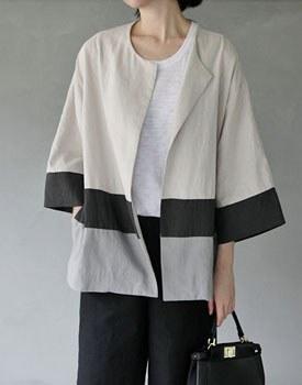 Benjamin two-tone linen jacket