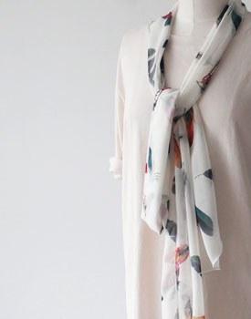 Leaf chiffon scarf