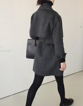 Handmade collar coat - charcoal