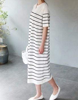 Bali stripe knit one piece  -  2c