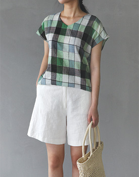 Comma Check Blouse - 2c