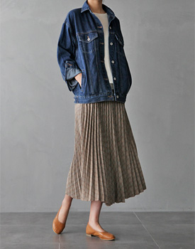 DK Check Pleats Skirt - 2c
