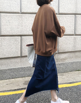 Unbal Cutting Midi Denim Skirt