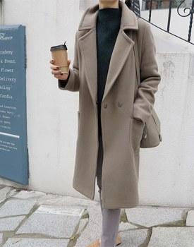 [当天发货]兰伯特羊毛长款大衣 - 灰色卡其最好的材料卡扣变成了一个摊位单元周门宽周