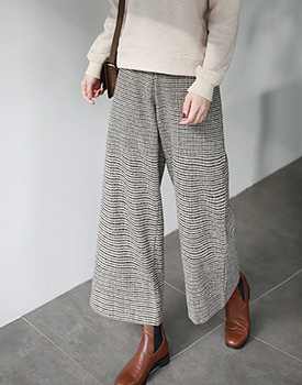 Hound's-tooth Wide Pants
