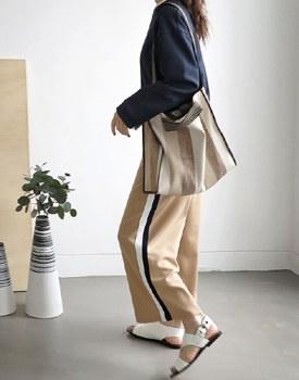 Knit Tape Wide Pants - 2c