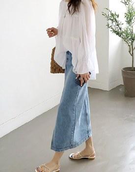 Long slit denim skirt