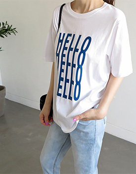 HELLO textile printing Tee - 2c