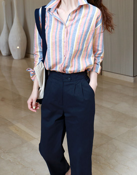 Santo striped linen shirt