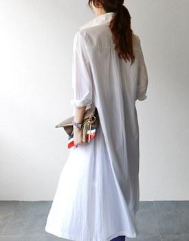 HYE Embroidery Long Shirt Dress - 2c