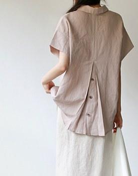 back Point Linen Blouse - 3c