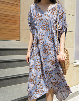 Paisley Shirring Dress