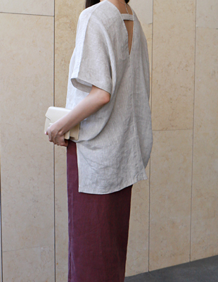 V-neck linen band top - 2c