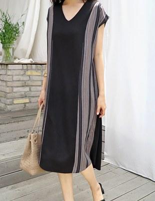 Sanding V-neck dress - 2c