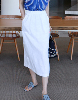 Two Pocket Linen Skirt - 4c