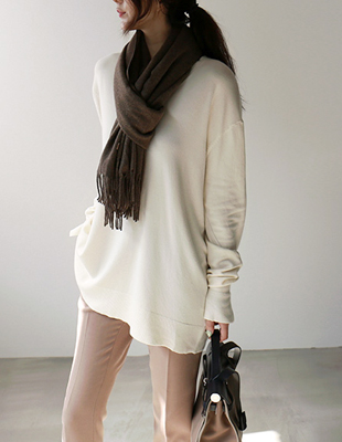 V neck a-line long knit top - 3c