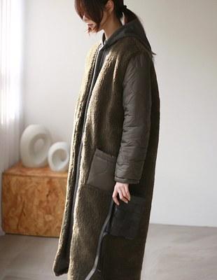 Reversible fur padding long coat - 2c