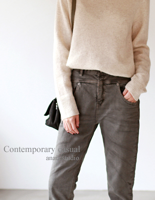 gray half-raised brushed denim