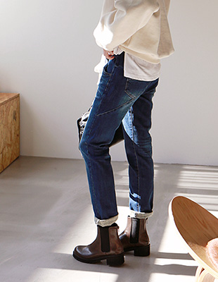 Take half-breasted denim