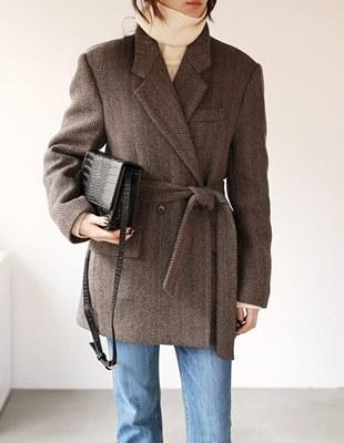 Herringbone Belt Half Jacket - 2c
