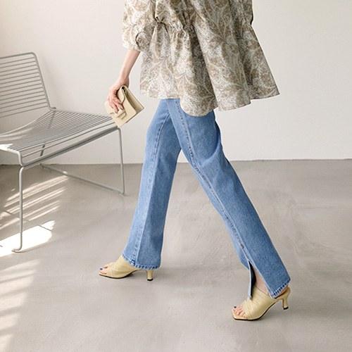 slit straight denim pants
