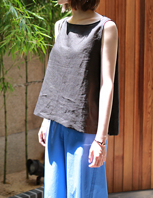 side button linen top