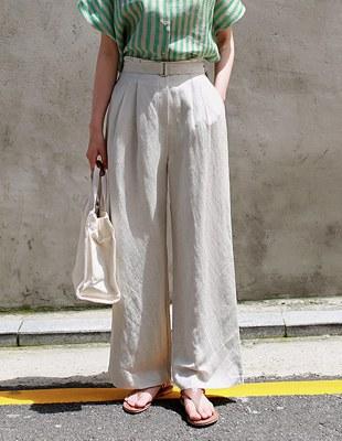 belt linen wide pants