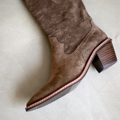 Suede western middle boots