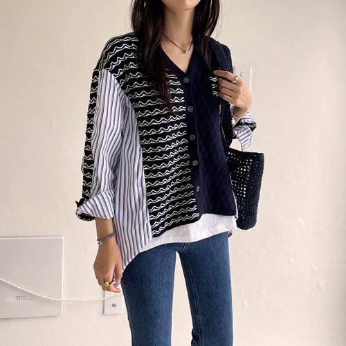 Knit Coloring Stripe Shirt