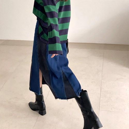 Row Coloring Denim Skirt
